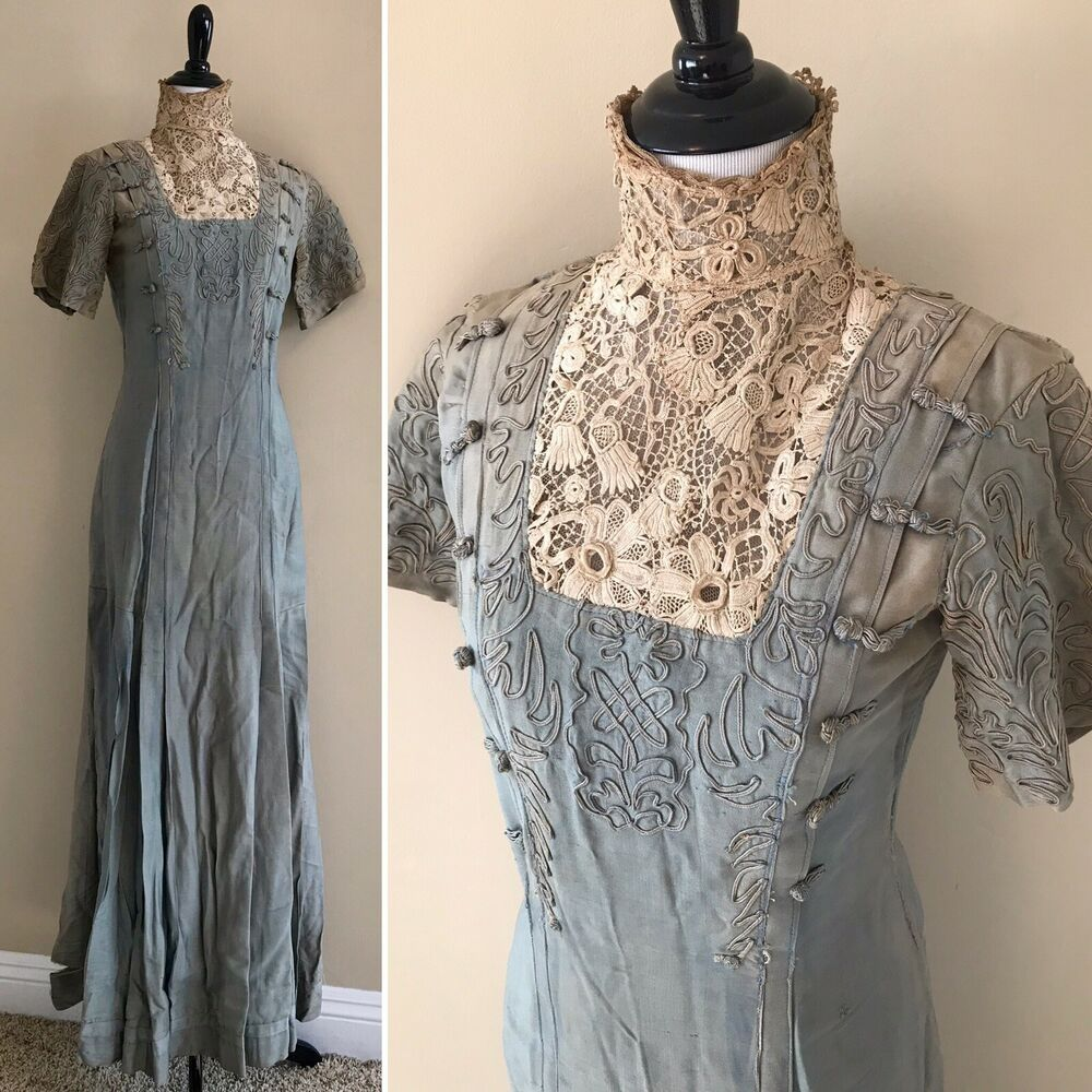 Antique Vintage Edwardian Silk Soutache Gown Dress As Is Project Study Repair Unbranded Edwardiandress Edwardian Gowns Historical Dresses Fashion
