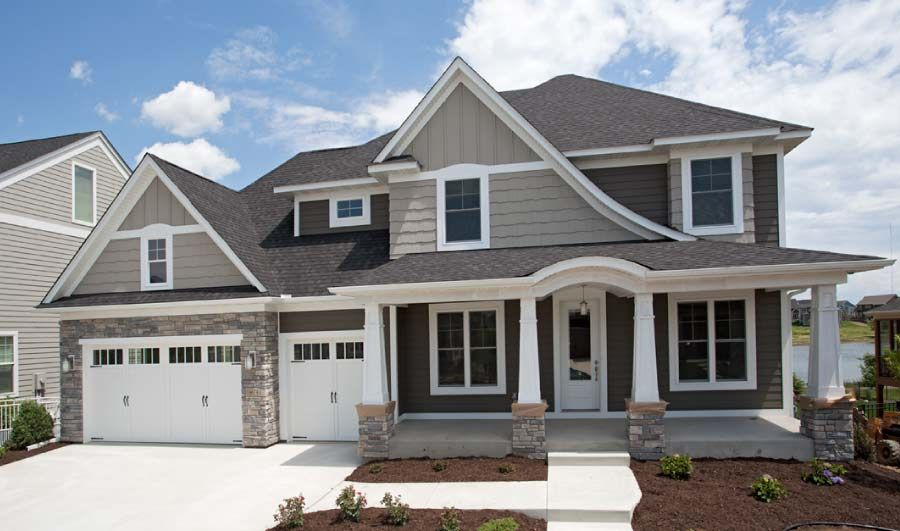 Custom Home Exteriors Homes By Tradition Gray House Exterior White Exterior Houses House Paint Exterior