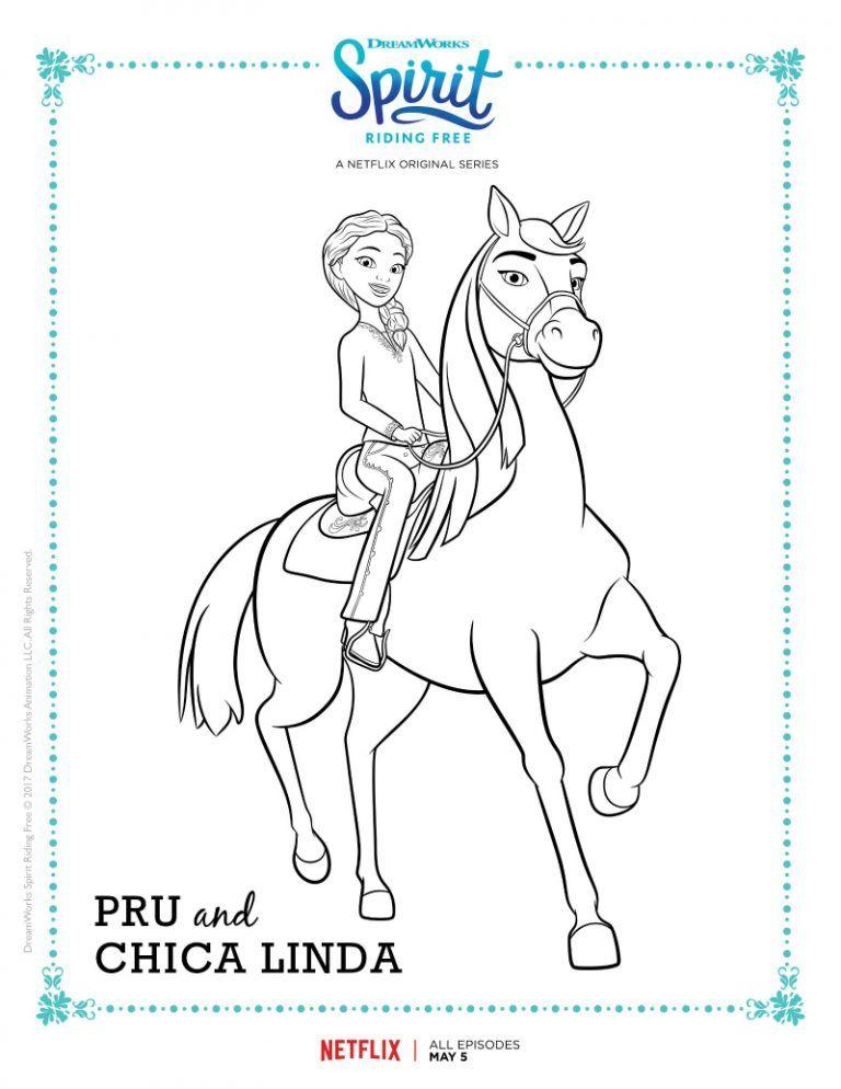 Spirit Riding Free Pru And Chica Linda Coloring Page Ausmalbilder Pferde Ausmalbilder Ausmalen