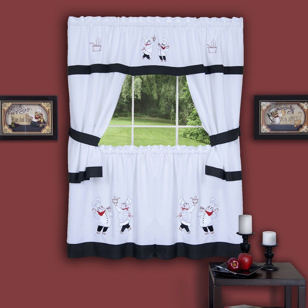 Gourmet Chef Embellished Cottage Kitchen Curtain Set 58x36