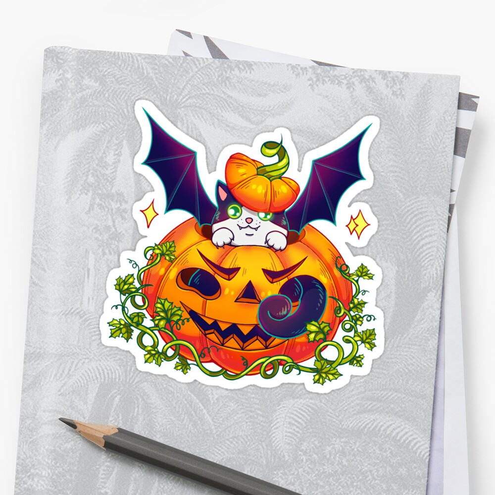 'For the dark background The Catbat, a pumpking and