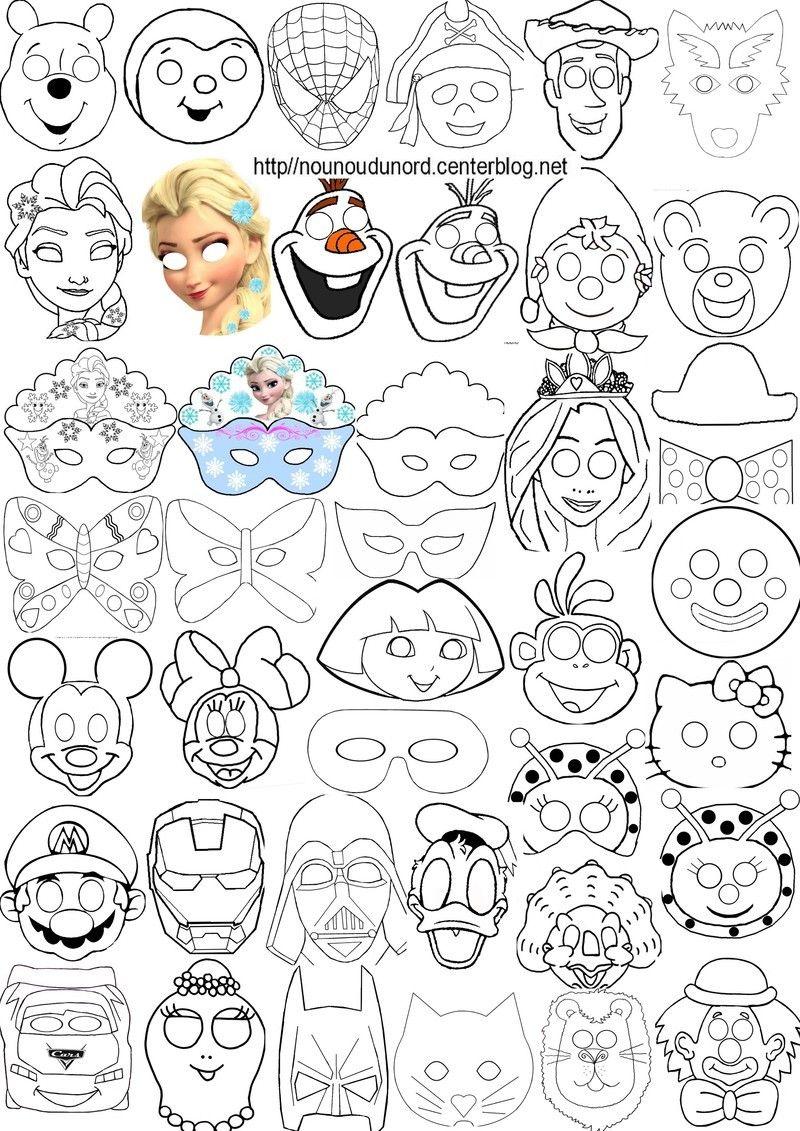 Masques imprimer pour les enfants diy carnaval - Masque a imprimer pour fille ...