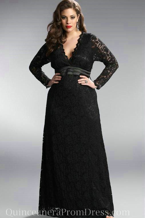 Plus Size Long Sleeve Chiffon Dress