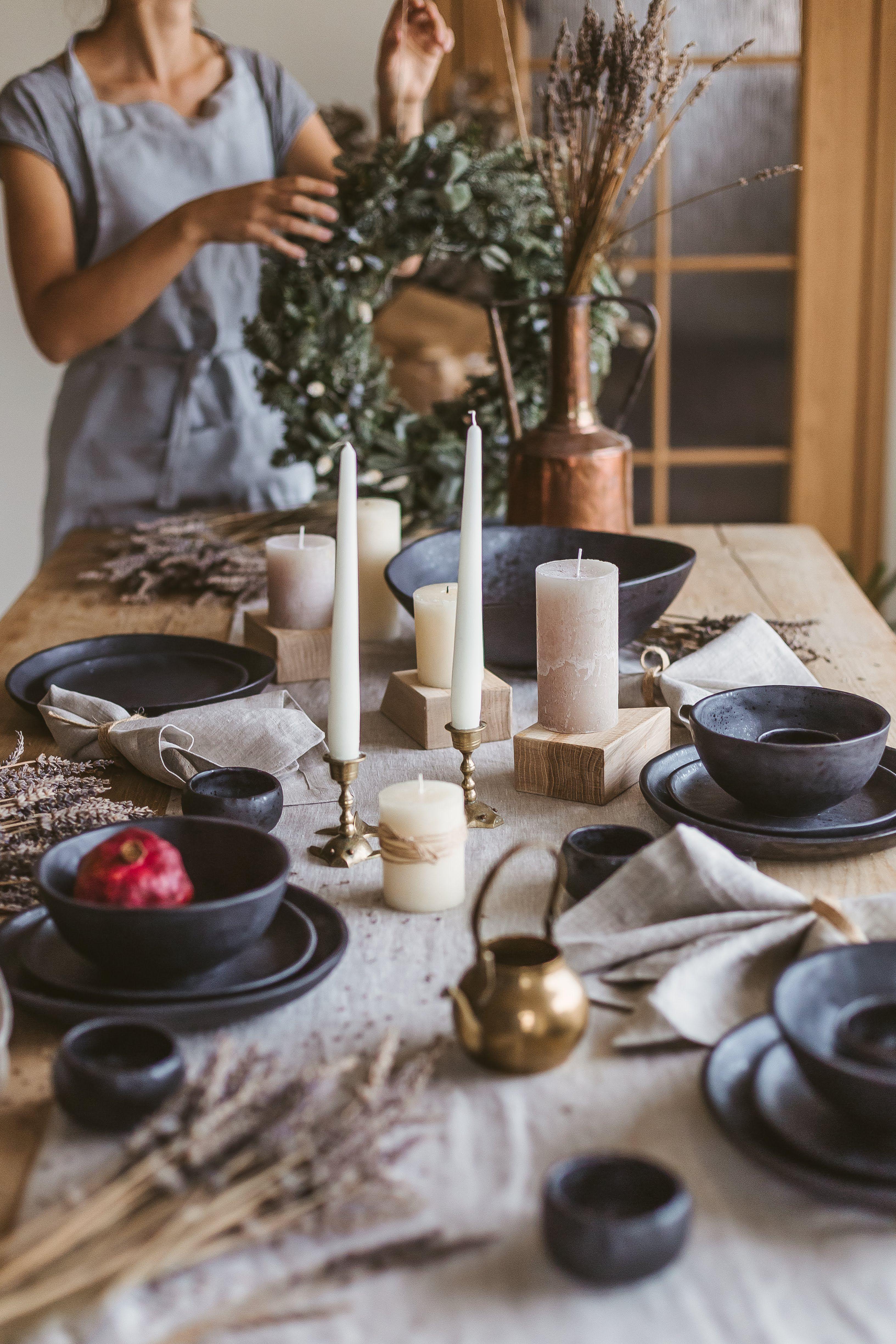 Ceramic dinnerware set of 4 pieces one person stoneware