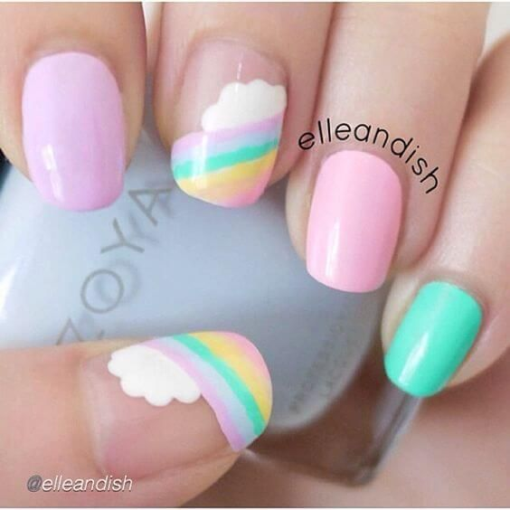 Uñas Decoradas Con Nubes Its In The Details In 2019 Nails