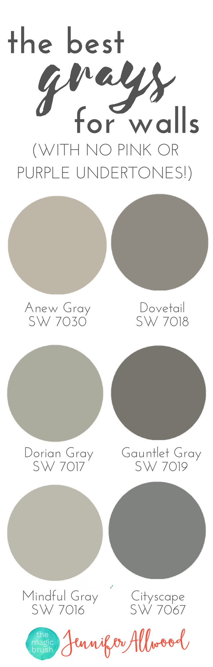 The best gray paint colors for walls with no pink or Different colours of grey paint
