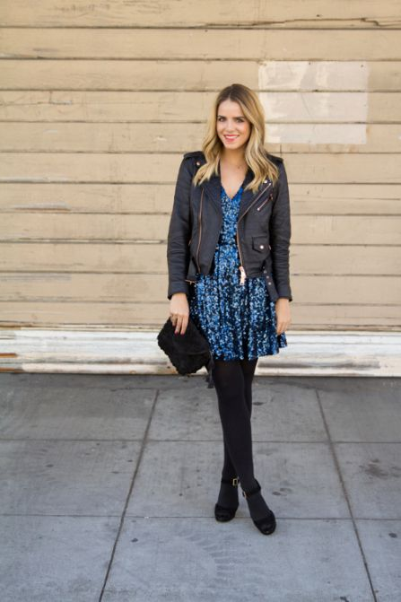 25 new years eve outfit ideas - blue sequin dress + leather biker coat