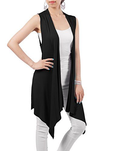 H2H Womens Solid Open Front Draped Sleeveless Cardigan Vest BLACK ...