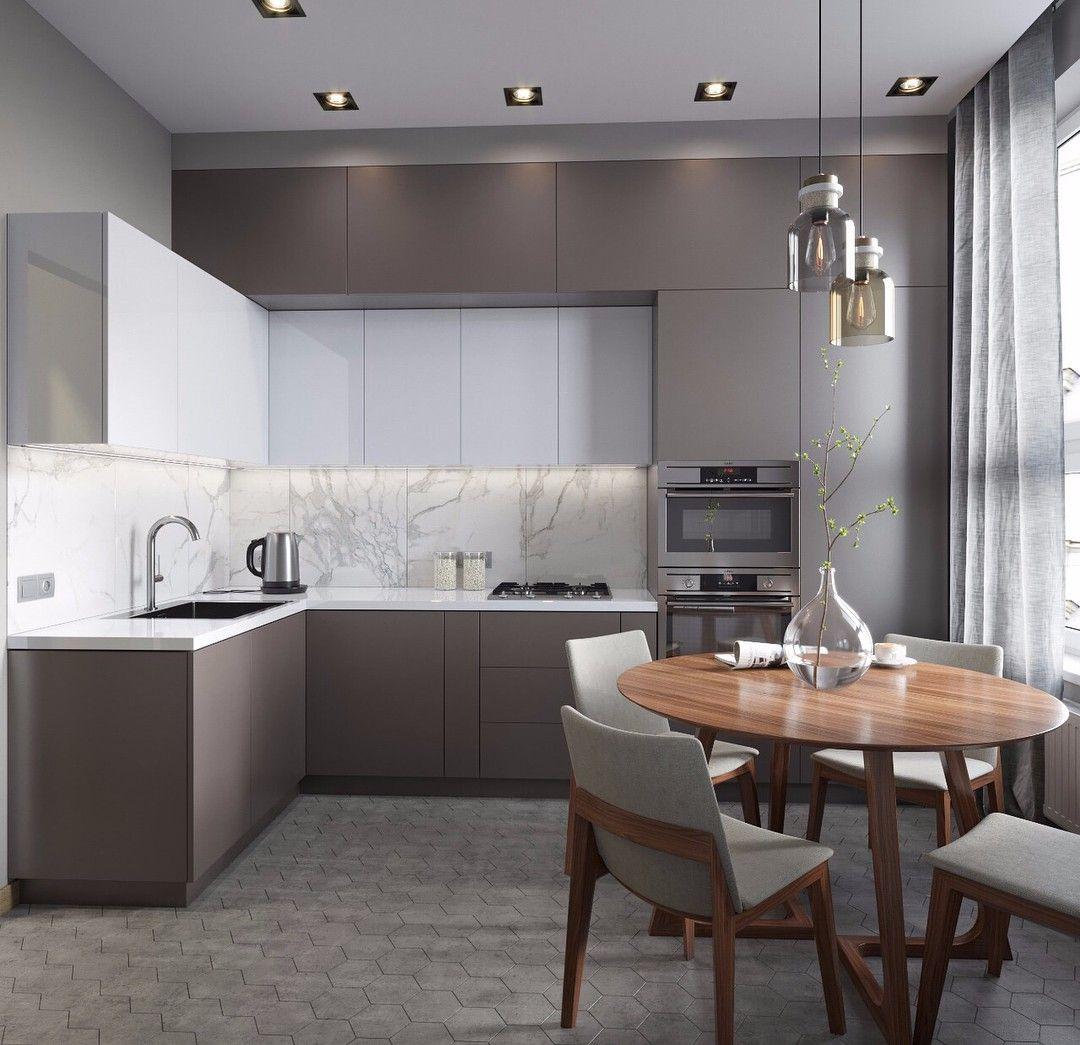 Küche - Marmor - Taupe -Weiß