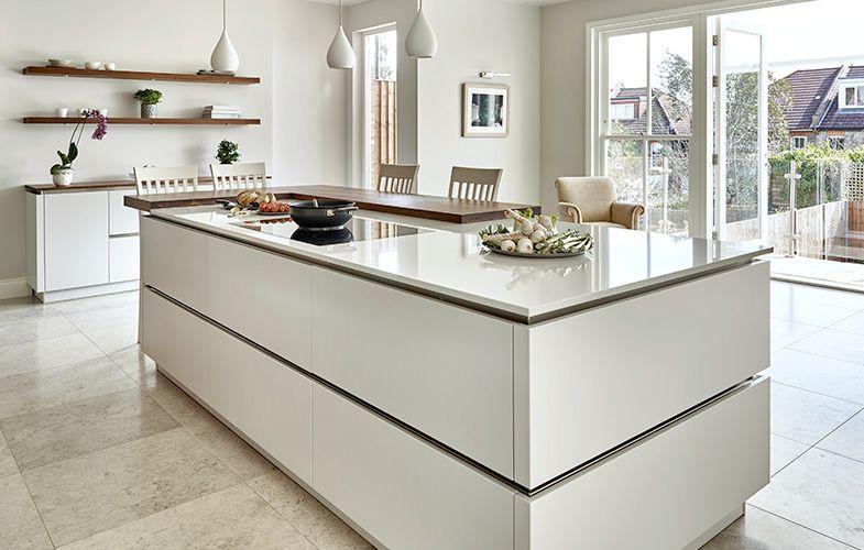 Best Wimbledon Walnut Cornforth White Kitchen Large Island 400 x 300