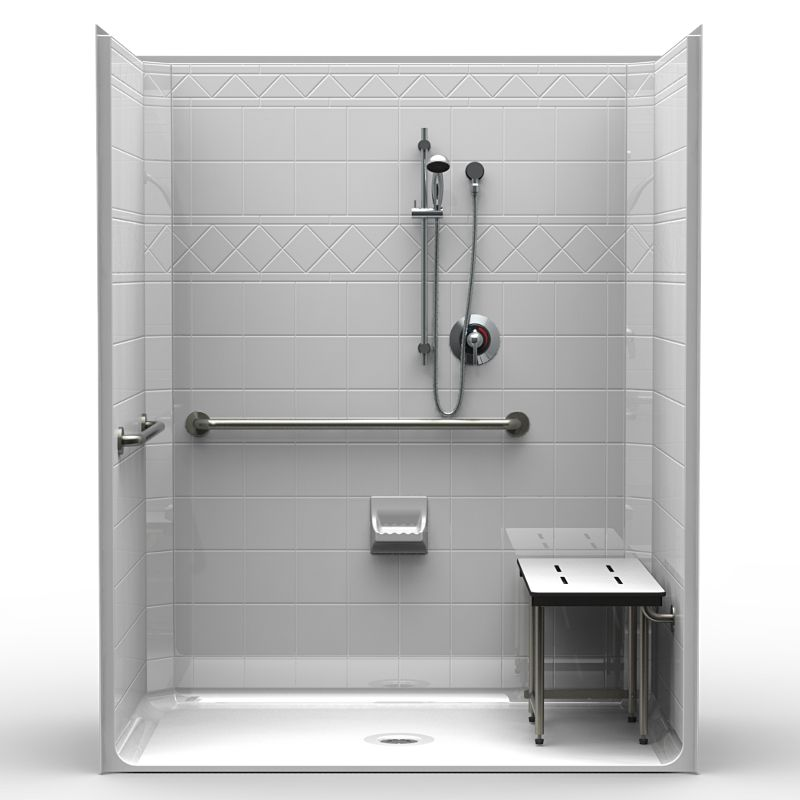 lds6337 ada compliant shower system complete with seat grab bars soap dish and
