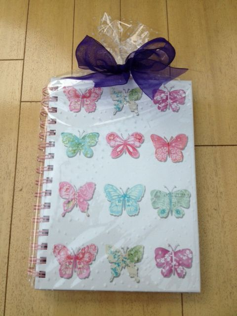 Thank you butterfly notebook for my next coffee & cards hostess wrapped up in white dot cello & finished with a simple purple ribbon. Wrapping has doubled its wow factor, I really struggled to hand it over!