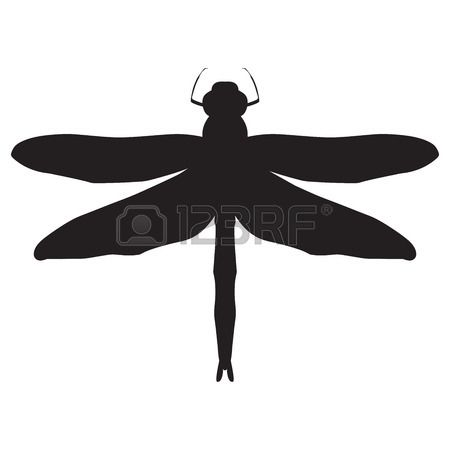 Dragonfly Silhouette. Design Dragonfly. Insect With Wings. Drawn.. Royalty Free…