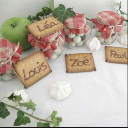 Marque place mariage th me gourmandise id e d co divers for Deco table gourmandise