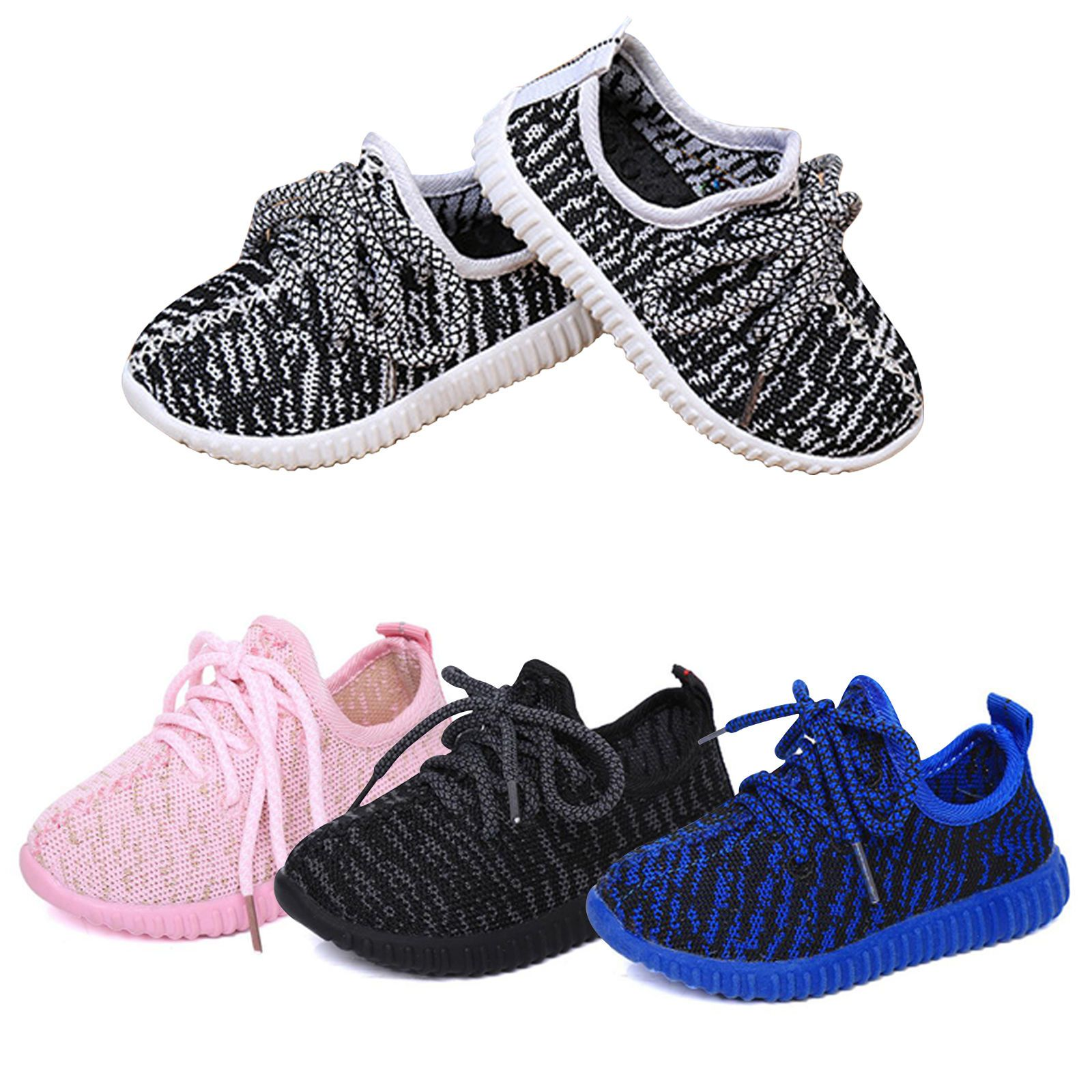 Kids Boys Sports Running Shoes Girls Casual Trainers Child Lace Up