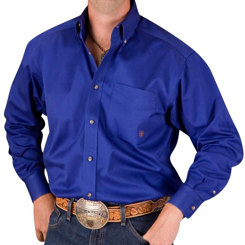 Men's Ariat Solid Blue Buttondown Shirt | Cowboys | Pinterest