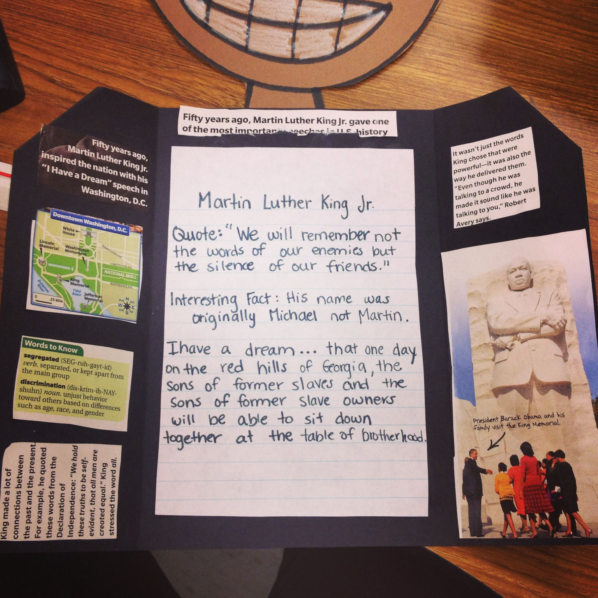 Martin Luther King Jr Foldable Quotes Interesting Facts