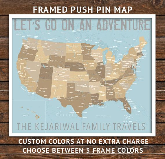 USA map, Flight attendant gifts, Push Pin Map, Framed America map ...