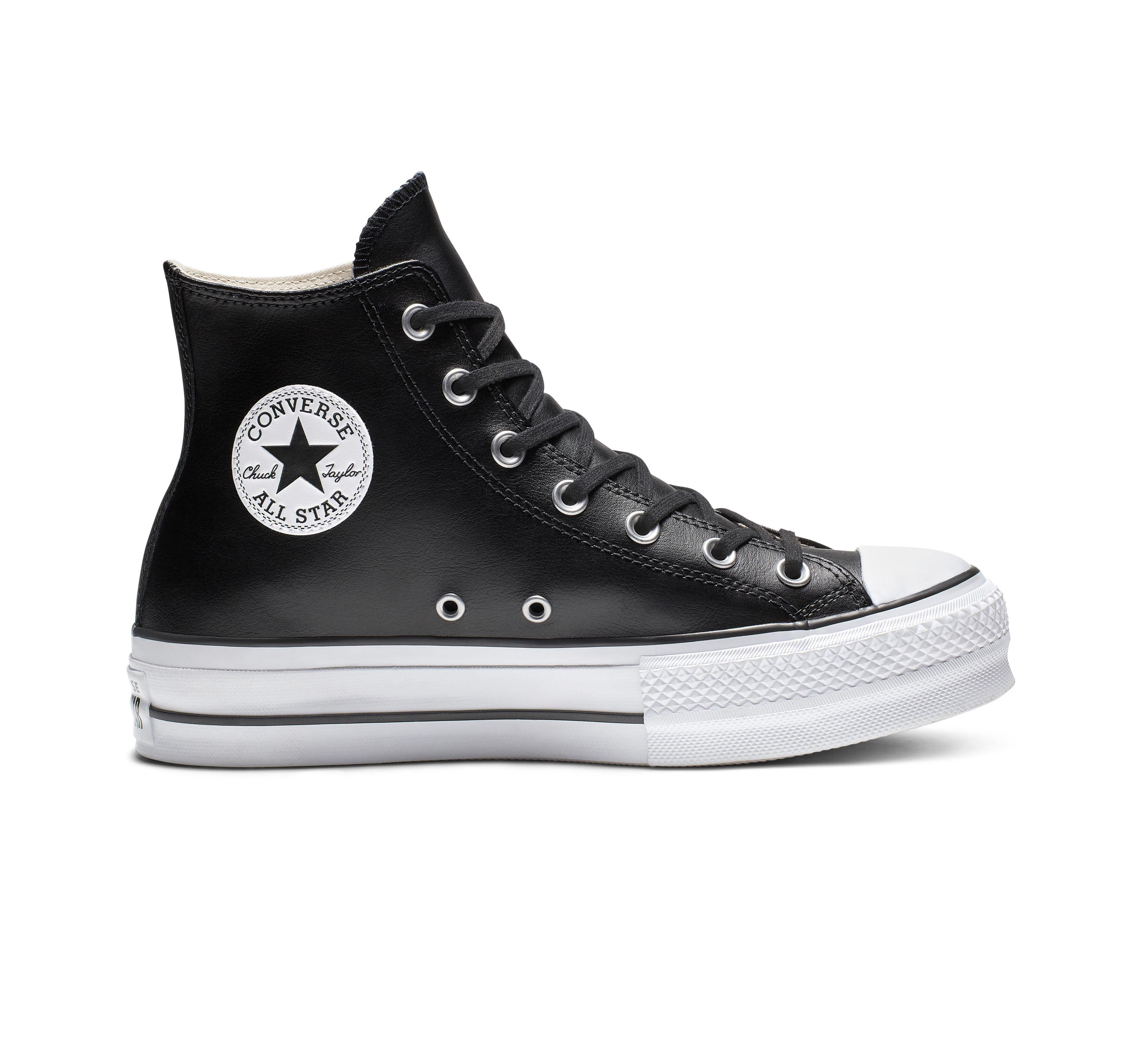 Chuck Taylor All Star Platform Clean Leather High Top Shoe Black Leather Converse Leather Converse Chuck Taylors