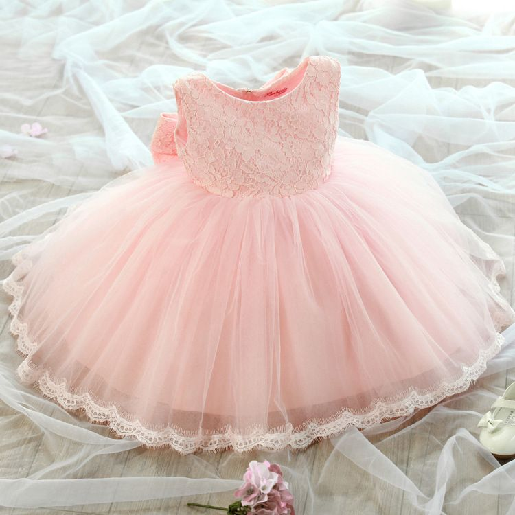 26ddabea9 2-8Y toddler Girl birthday Dress Girls pink white Flower Lace Big ...