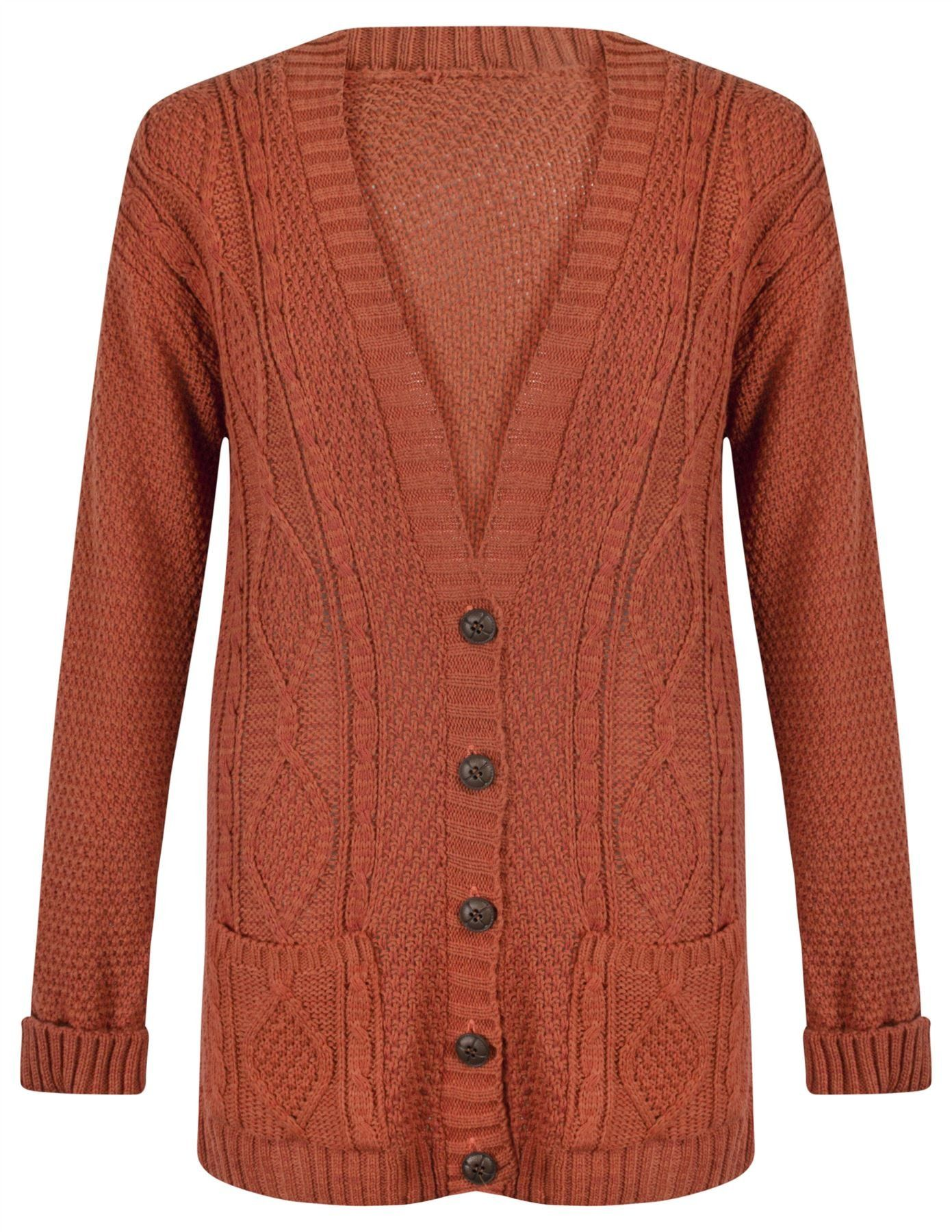 542376c354 Womens Ladies Chunky Cable Knitted Long Sleeve Button Grandad Knitwear  Cardigan - BLACK - One Size(UK8-14) - (Mixed Fibres) at Amazon Women s  Clothing store ...