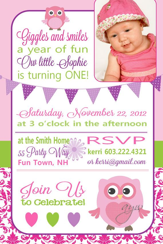 Owl First Birthday Party Invitation by AsYouWishCreations4u | Most ...