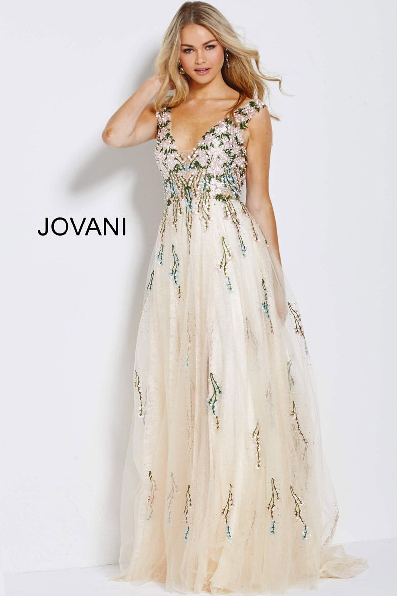 Jovani 54445 Floral Embroidered Prom Gown | Jovani | Prom ...