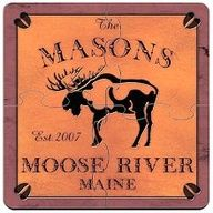 Moose Cabin Series Personalized Puzzle Beverage Coasters Drink Coasters Lake Cabins Outdoor Lover