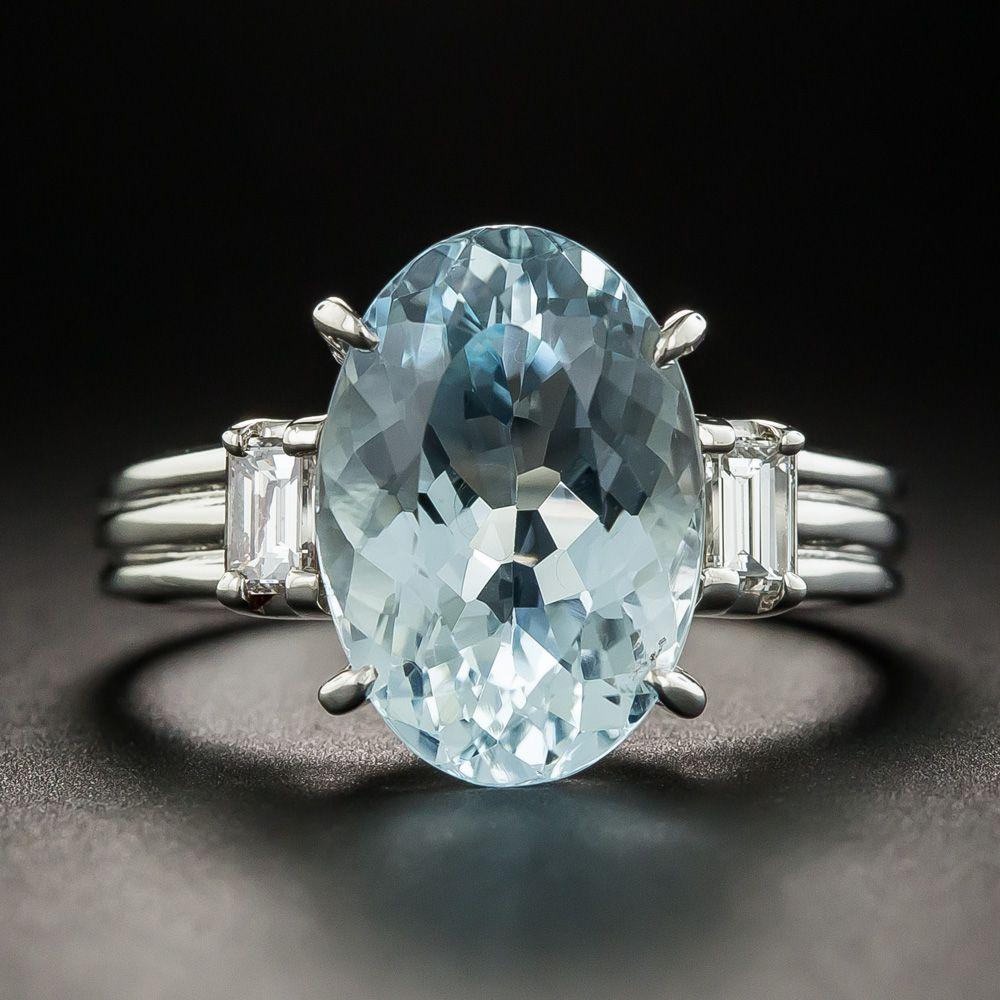 Estate oval aquamarine platinum diamond ring in whatus new at
