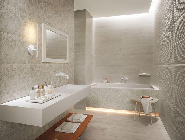 Moderne Badgestaltung Fliesen Fap Creme Badewanne Corian ... Badezimmerfliesen Creme