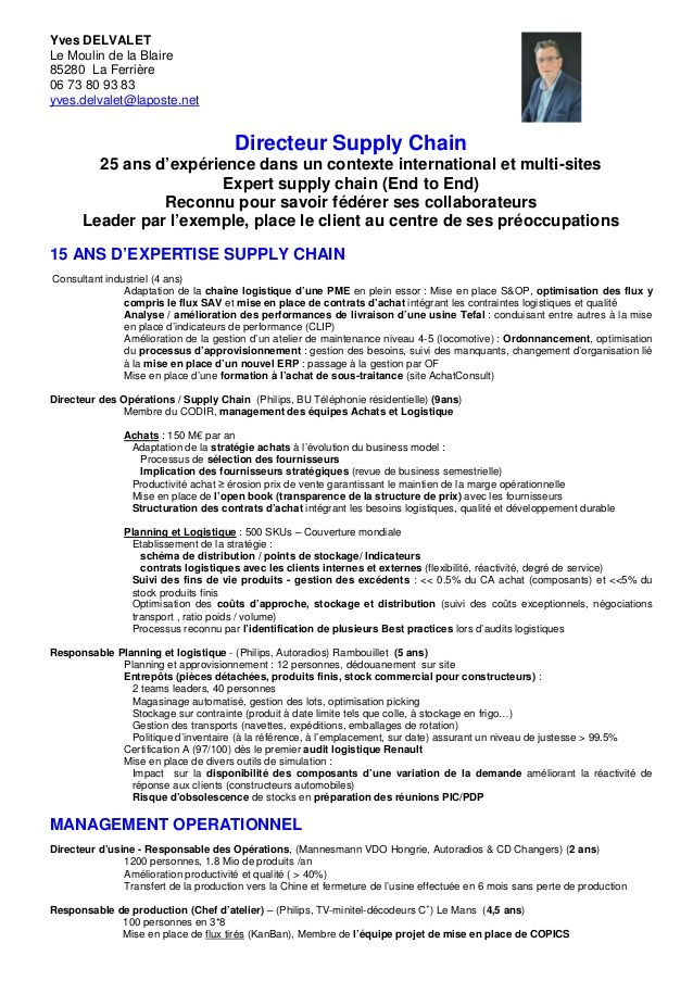 cv anglais responsable production