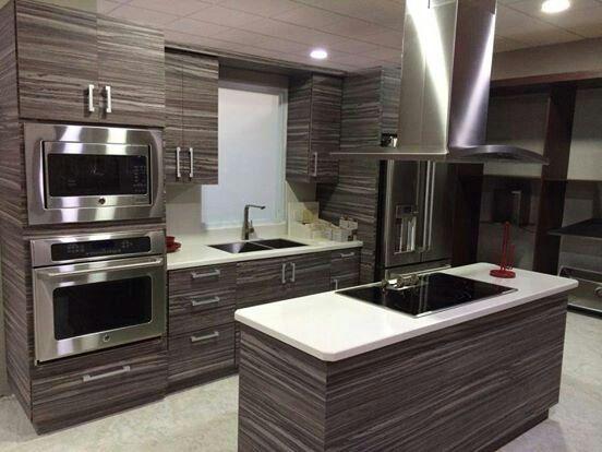 Cocina Empotrada Moderna, Color: Wengue, Tope en Granito: Blanco ...