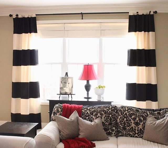 Wide Array In Black And White Curtains Black And White Living Room Curtains Living Room Traditional Family Rooms