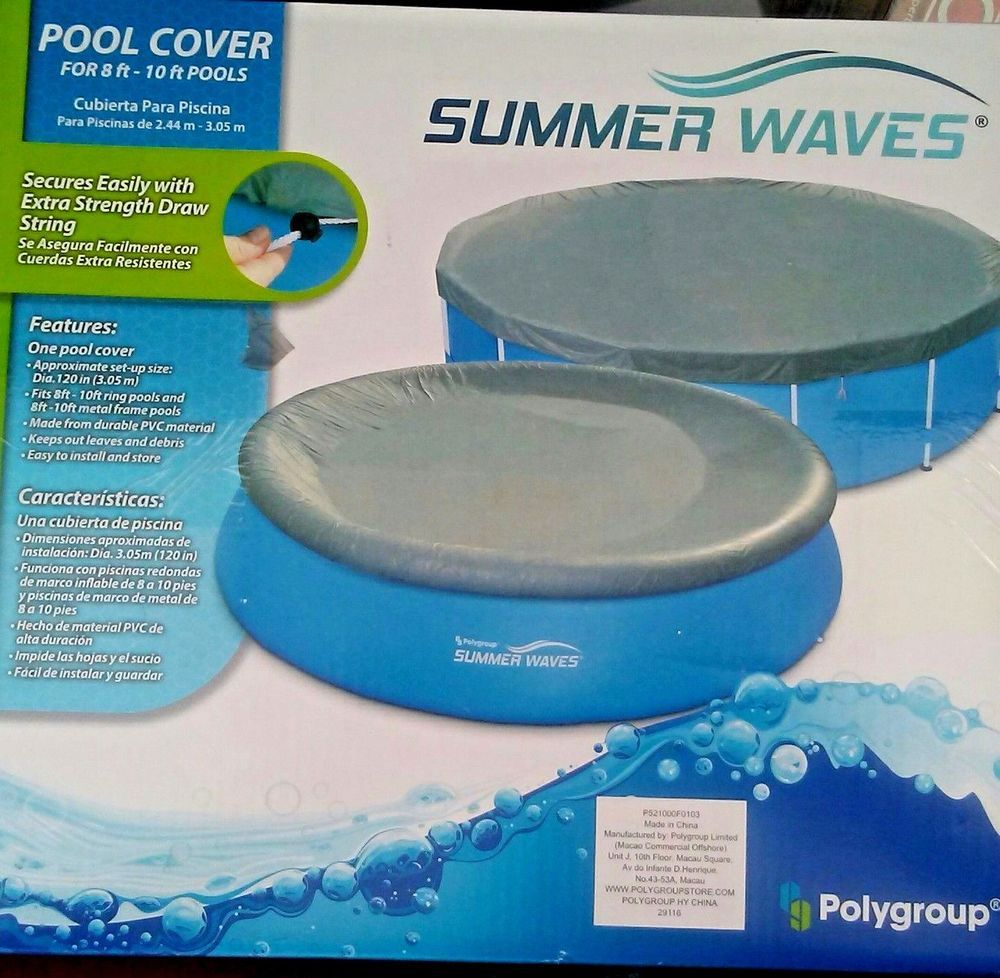 Summer Waves Pool Cover Above Ground New In Box 8 10 Ft Extra Strength Pvc Pool Cover Summer Waves Wave Pool