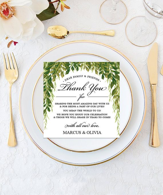 Diy Simple Greens Wedding Thank You Place Card Instantly Edit Print Thankyou Cards