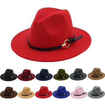Womens Classic Wide Brim Fedora Hat with Belt Buckle Felt Panama Hat  Hats