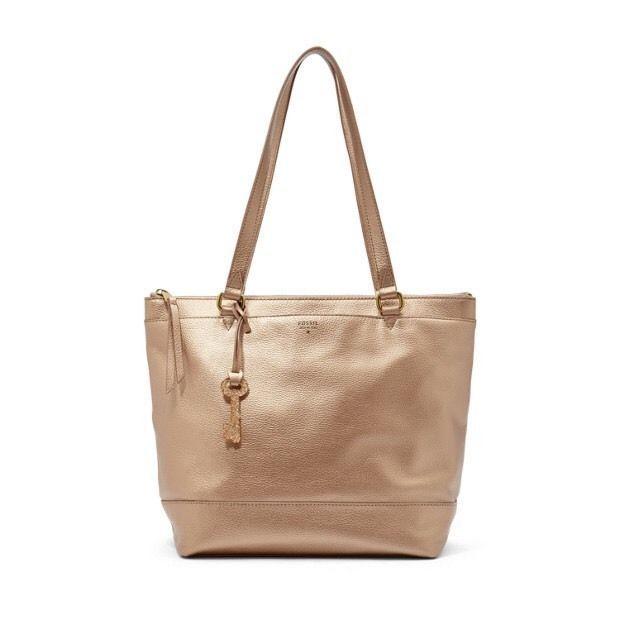 3ef938e7a2c Handbag Fossil Pale Rose Gold Leather Shoulder Bag Hobo Zip Tote ...