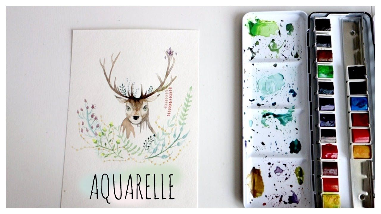 Speed Drawing Renne Fleuri Aquarelle Peinture Fleurs
