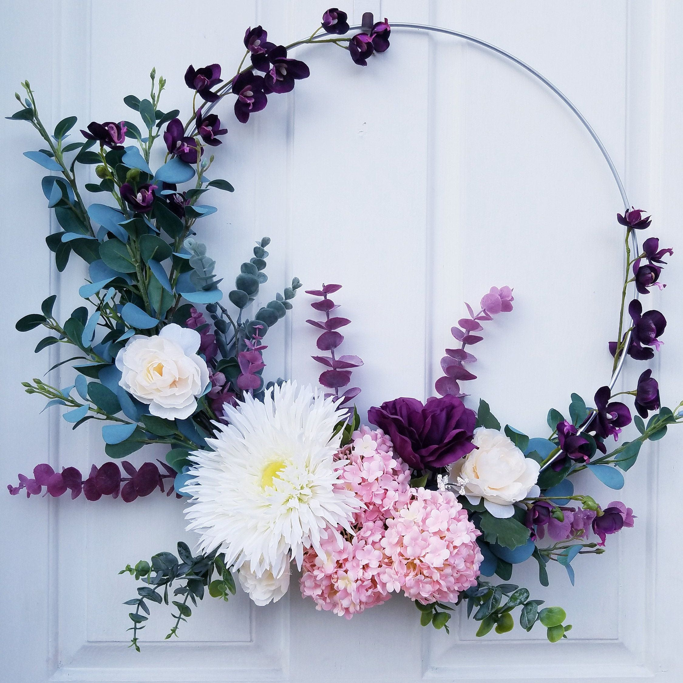 Ring Wreath Nursery Wreath |Valentine/'s Day Wreath Bridal Hoop Wreath Modern Floral Burgundy and Purple Hoop Wreath