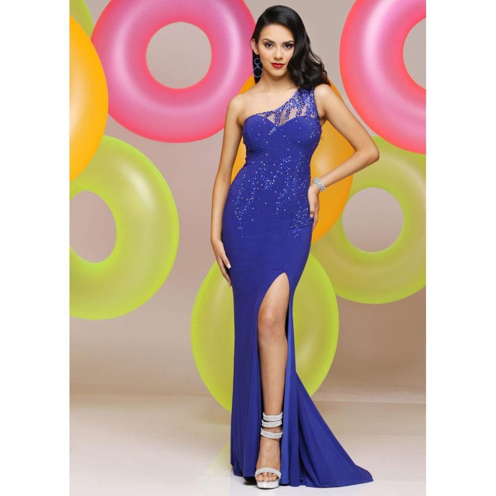 Aliexpress buy royal blue mermaid evening dresses one shoulder