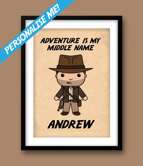 Indiana Jones inspired wall art, boys wall art, custom print ...