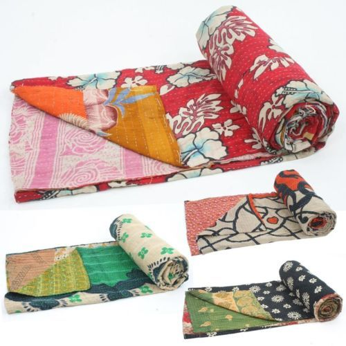 Vintage Kantha Quilt Gudri Reversible Throw Ralli India Many to Select From | best of market