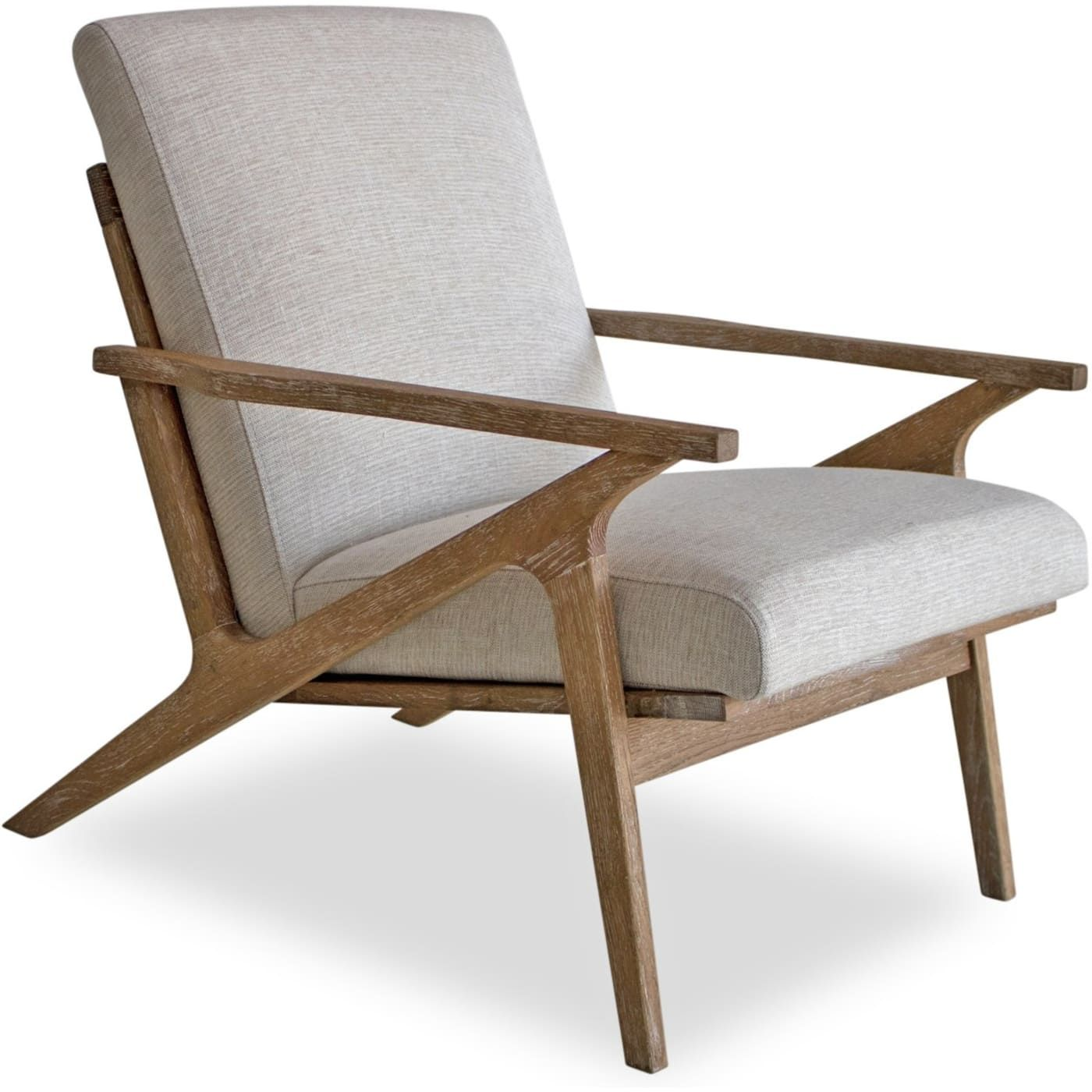 Edloe Finch Adalyn White Linen Mid Century Modern Accent Chair