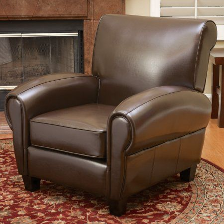 Excellent Noble House Finch Brown Bonded Leather Club Accent Chair Machost Co Dining Chair Design Ideas Machostcouk