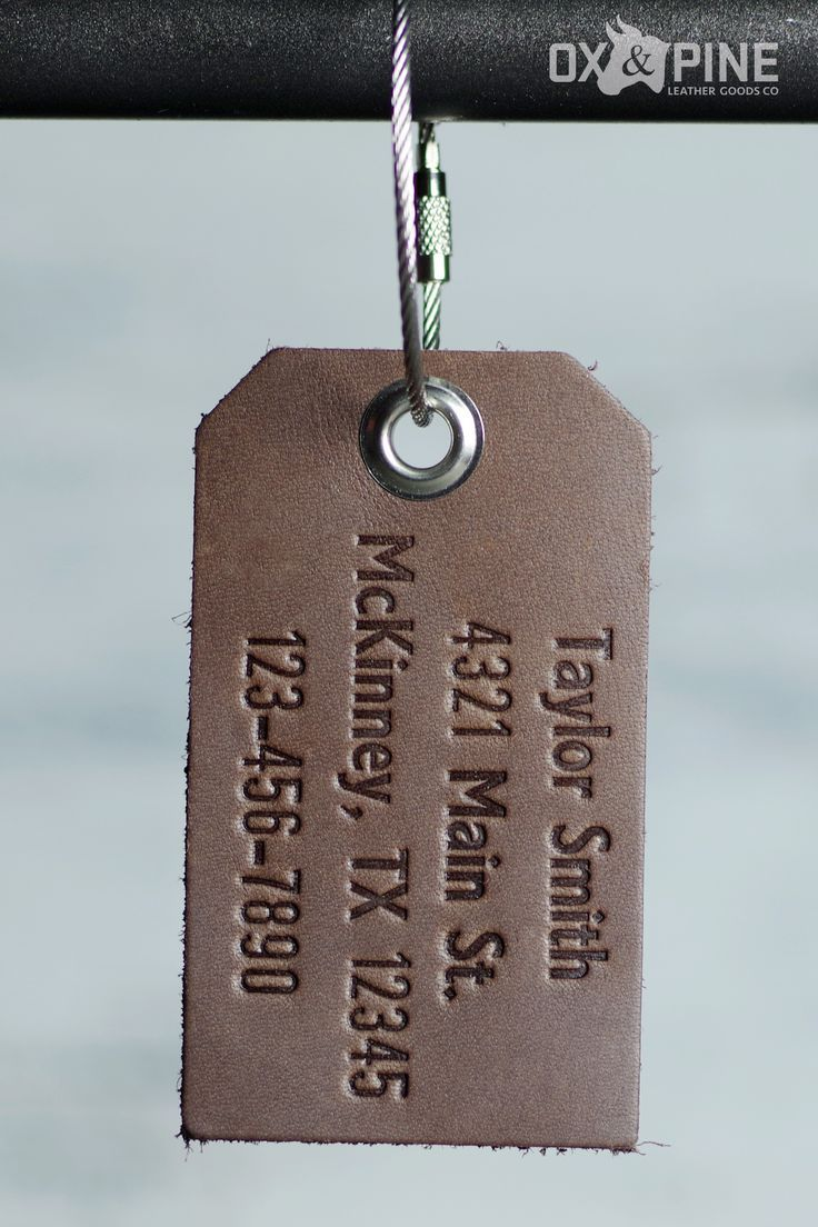 Get a personalized leather luggage tag Add this Dark Brown Ox  Pine leather luggage tag to your suitcase or bag today Customize the luggage tag to say exactly what you wa...