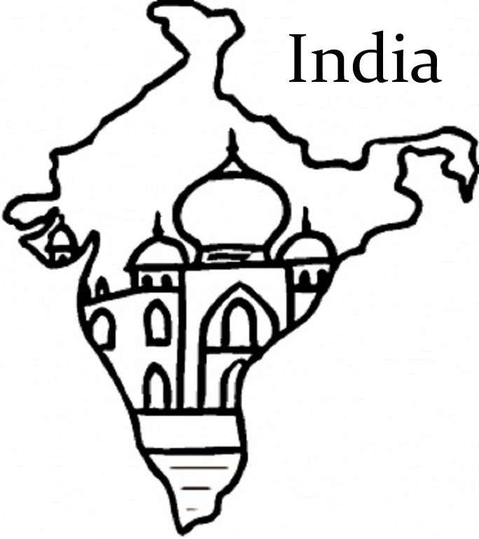 India Flag And Map Colouring Pages