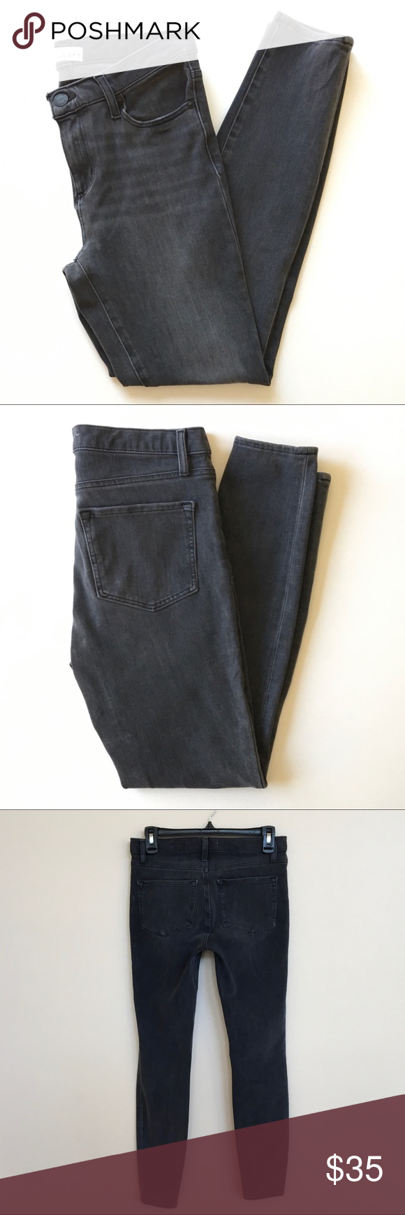LOFT Dark Grey High Waist Legging Jean 27/4 Feel put together and comfortable in these Legging Jeans...
