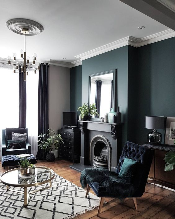 Modern Eclectic Living Room In Gray And White With A Dark Gray Green Accent Wall Living Room Decor Ide Dark Living Rooms Blue Living Room Living Room Green