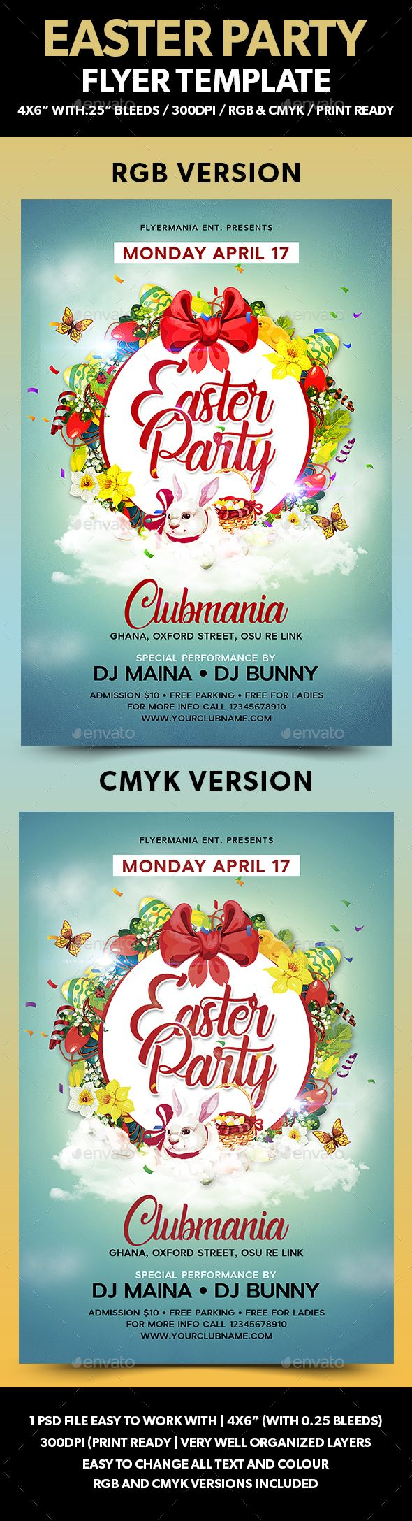 Easter Party Flyer Template And
