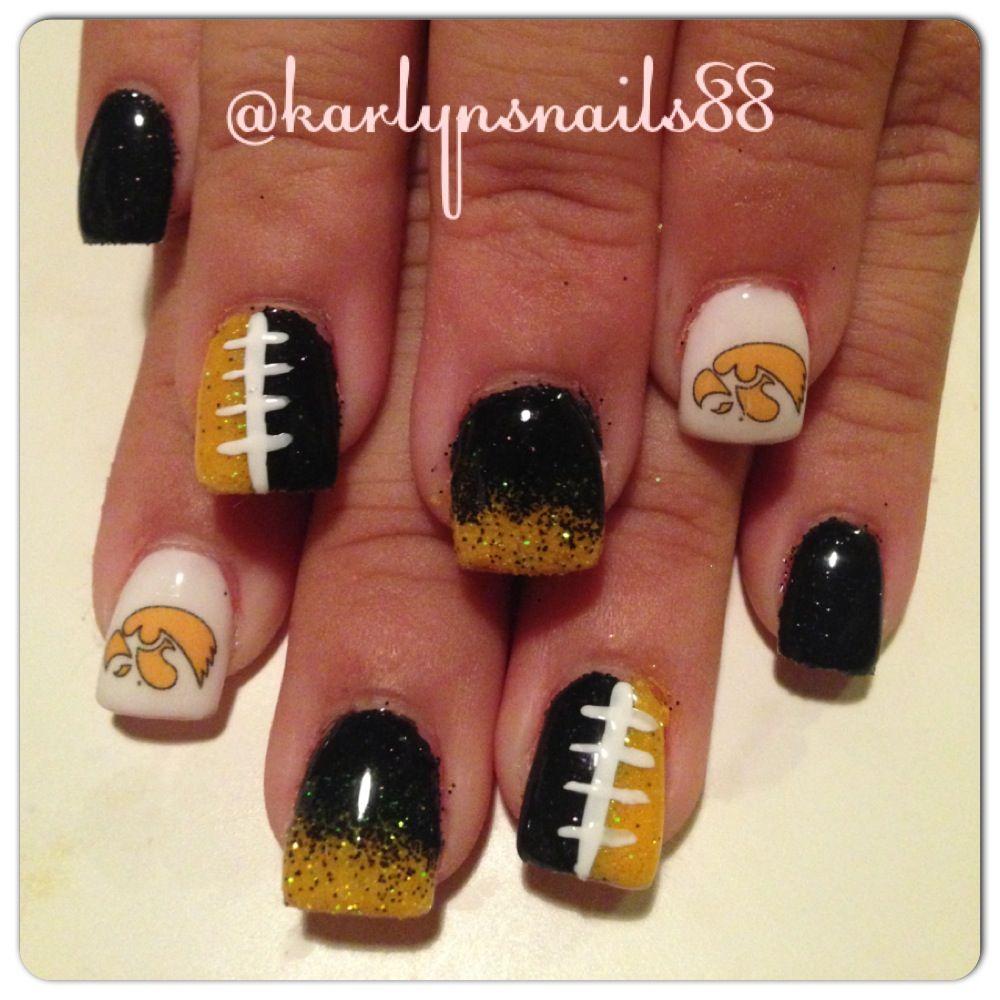 Iowa hawkeye nails!   My Nail Work   Pinterest   Iowa, Makeup and ...
